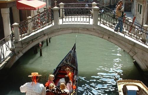 Venecia, canales, puente, góndola