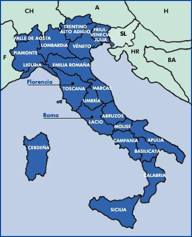 Las regiones de Italia de la A a la L