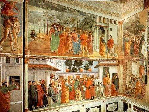 Hermosos frescos en la capilla Brancacci, Florencia